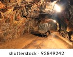 underground train in mine ... | Shutterstock . vector #92849242