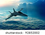 View of a fighter jet above the ...