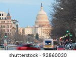 Stock photo capitol building from pennsylvania avenue with car traffic foreground washington dc united states 92860030