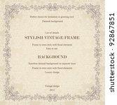 vintage background with damask...   Shutterstock .eps vector #92867851