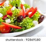 salad with feta and greek olives | Shutterstock . vector #92869180