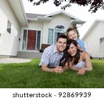 portrait of happy family lying... | Shutterstock . vector #92869939