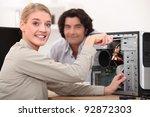 happy technician fixing a... | Shutterstock . vector #92872303
