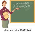 teacher at blackboard. vector... | Shutterstock .eps vector #92872948