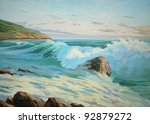 wave and coast of mediterranean sea in spain - stock photo