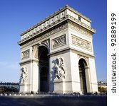 view of the arc de triomphe ...   Shutterstock . vector #92889199