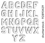 hand drawn vector abc  font  3d ... | Shutterstock .eps vector #92893429