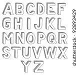 hand drawn vector abc  font  3d ...   Shutterstock .eps vector #92893429