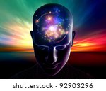 Collage of human head, digits and various abstract elements on the subject of thinking, human and artificial minds - stock photo