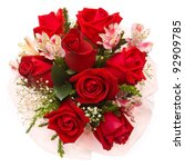 Stock photo bouquet of roses on white background 92909785