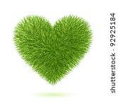 grass heart symbol. vector. | Shutterstock .eps vector #92925184