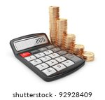 Calculator and gold coin. Icon 3D. Business concept. Isolated on white. - stock photo
