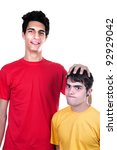 cute teen boys big and small on ... | Shutterstock . vector #92929042