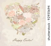 floral heart. easter card.... | Shutterstock .eps vector #92955694