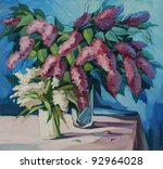 lilac bouquet drawn by oil paints on a canvas, an illustration - stock photo