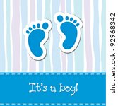 bright baby boy arrival card ... | Shutterstock .eps vector #92968342
