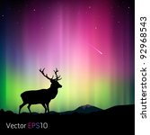 the northern lights with a deer ... | Shutterstock .eps vector #92968543