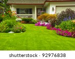 manicured house and garden... | Shutterstock . vector #92976838