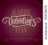'happy valentine's day' hand... | Shutterstock .eps vector #92978674