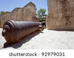 Cannon at the Grand Master Palace in Rhodes town, Greece. - stock photo