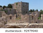 Castle walls at Rhodes old town, Greece - stock photo