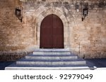 Ancient castle door at the Grand Master Palace in Rhodes town, Greece. - stock photo
