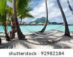 view of the otemanu mountain    ...   Shutterstock . vector #92982184