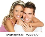 young love couple smiling. over ... | Shutterstock . vector #9298477