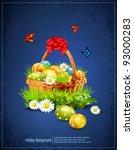 a basket full of easter eggs on ... | Shutterstock .eps vector #93000283