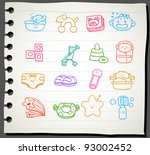 sketchbook series   baby icon... | Shutterstock .eps vector #93002452