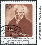 Small photo of GERMANY - CIRCA 1988: A stamp printed in the Germany, dedicated to the 200th anniversary of the birth Arthur Schopenhauer, circa 1988