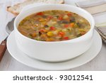 vegetable soup with bread | Shutterstock . vector #93012541