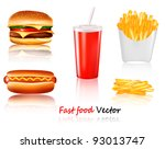 big group of fast food products.... | Shutterstock .eps vector #93013747
