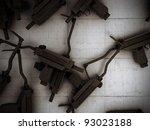 uzi on concrete floor - stock photo