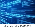 Computer code blue screen. - stock photo