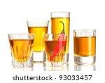 glasses of pepper vodka and red ... | Shutterstock . vector #93033457