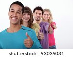 group of young people giving... | Shutterstock . vector #93039031