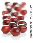fresh whole cranberries isolated on a white background - stock photo