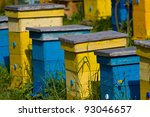 Yellow And Blue Beehives In Line