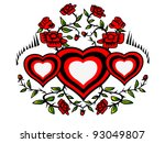 wreath of hearts and red roses... | Shutterstock . vector #93049807