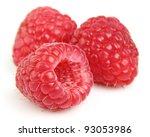 Ripe raspberry in closeup - stock photo
