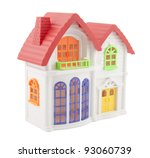 Colorful toy house with clipping path ( Mass-produced toy ) - stock photo