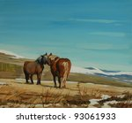 Horses in the French Pyrenees, painting by oil on a canvas, illustration - stock photo