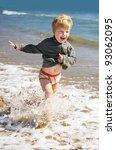 happy kid running on the sea... | Shutterstock . vector #93062095