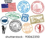 set of grunge stamps with... | Shutterstock .eps vector #93062350