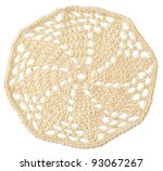 handmade crochet motif isolated on white - stock photo