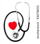 stethoscope and a red heart... | Shutterstock . vector #93078052
