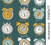 alarm clock. seamless pattern - stock vector