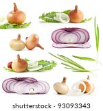 collection of onions on a white ... | Shutterstock . vector #93093343