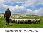 Shepherd With His Sheep On...